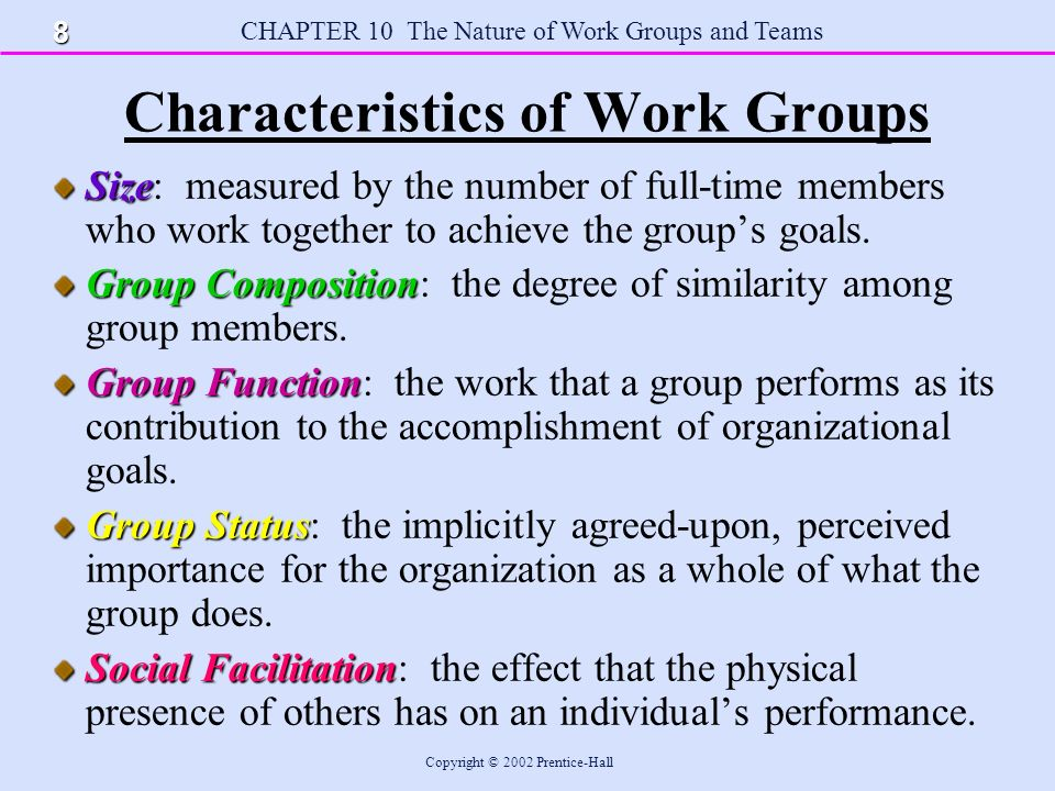 CHAPTER 10 The Nature of Work Groups and Teams Copyright © 2002 Prentice-Hall Characteristics of Work Groups Size Size: measured by the number of full-time members who work together to achieve the group's goals.