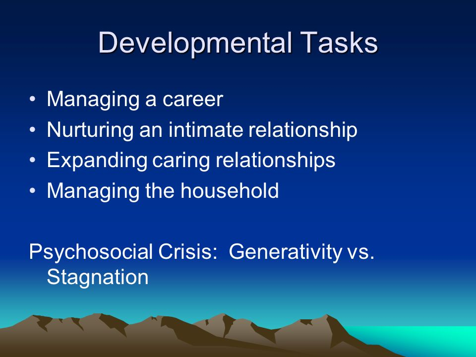 developmental task Your child is growing every day learn the developmental tasks involved in the social and emotional development of children with this helpful overview of erikson's stages of development.