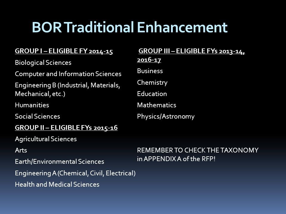 BOR Traditional Enhancement GROUP I – ELIGIBLE FY Biological Sciences Computer and Information Sciences Engineering B (Industrial, Materials, Mechanical, etc.) Humanities Social Sciences GROUP II – ELIGIBLE FYs Agricultural Sciences Arts Earth/Environmental Sciences Engineering A (Chemical, Civil, Electrical) Health and Medical Sciences GROUP III – ELIGIBLE FYs , Business Chemistry Education Mathematics Physics/Astronomy REMEMBER TO CHECK THE TAXONOMY in APPENDIX A of the RFP!