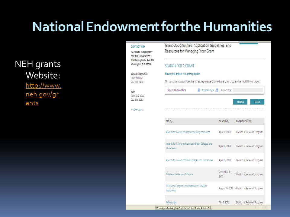 National Endowment for the Humanities NEH grants Website: