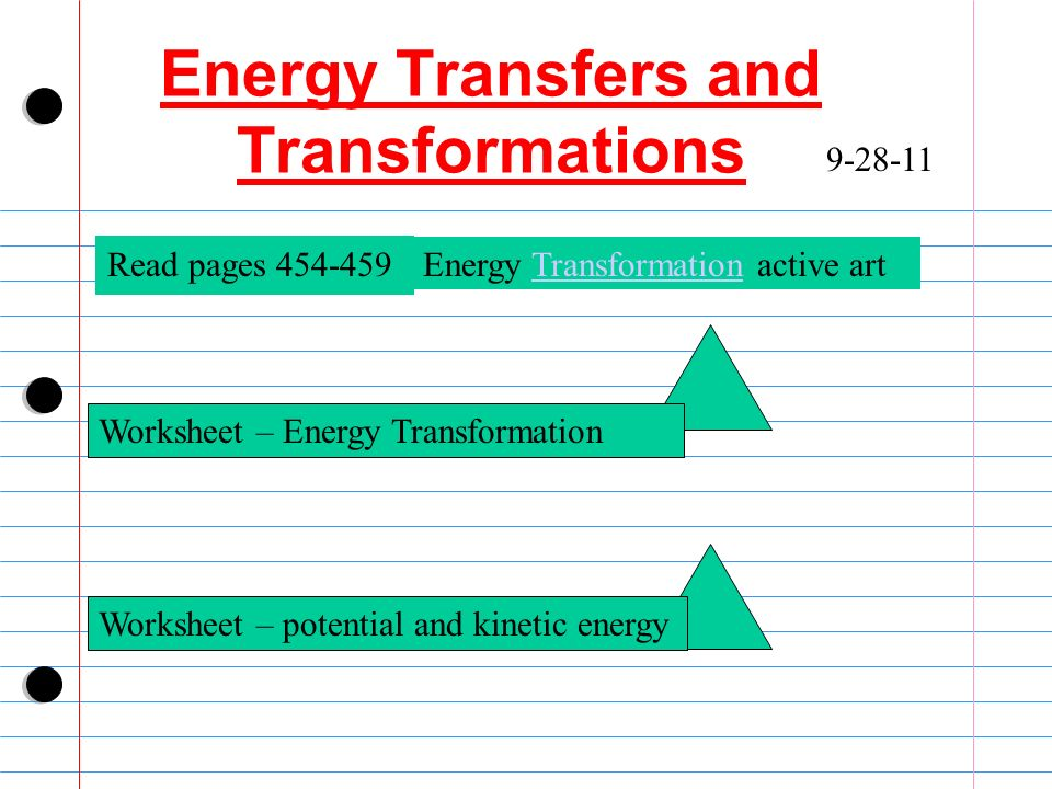 Student Worksheet Energy Transformations Animations ...