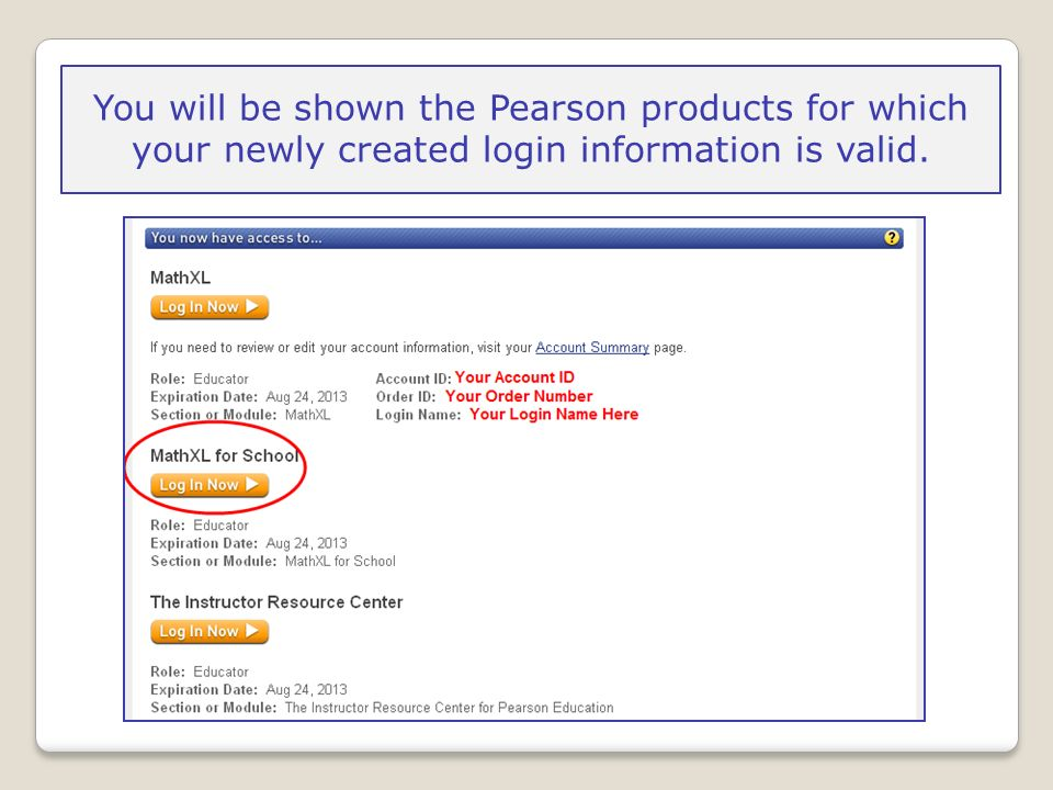 You will be shown the Pearson products for which your newly created login information is valid.