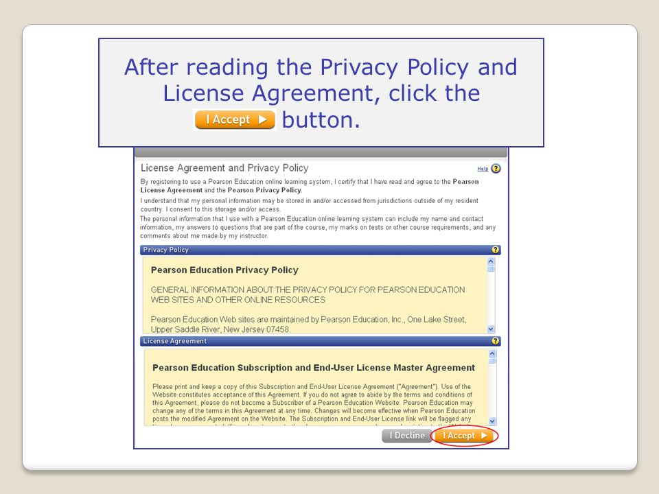 After reading the Privacy Policy and License Agreement, click the button.