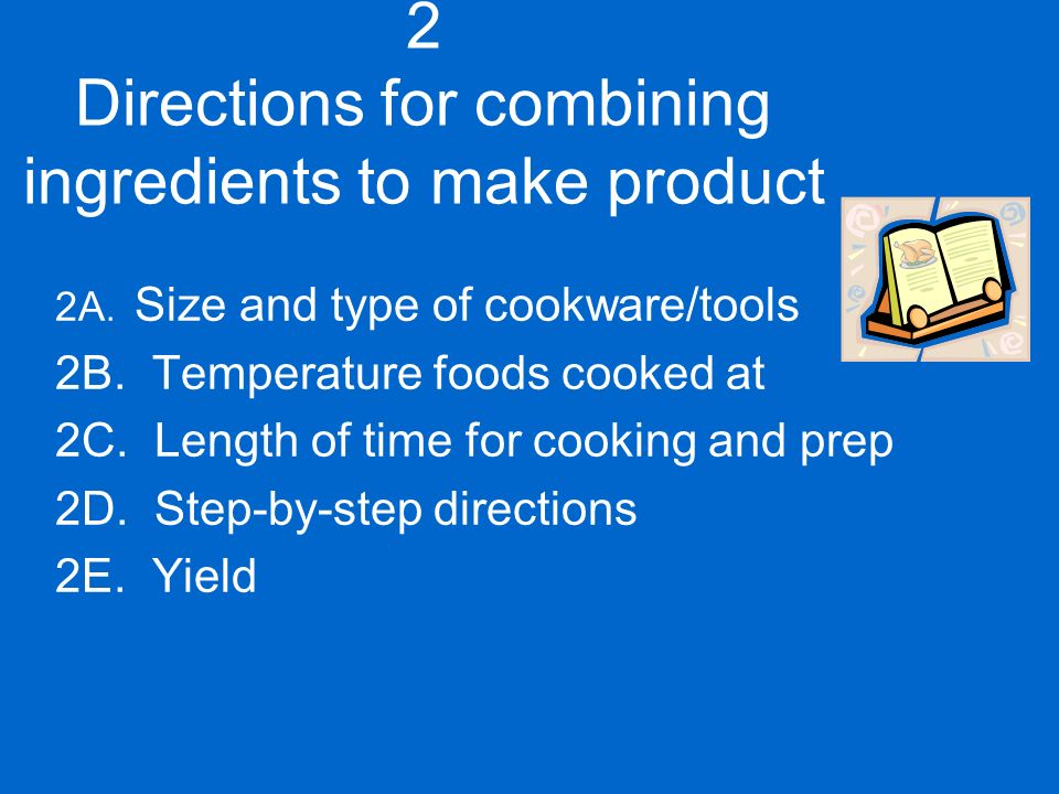 Recipe formats definition tool of cookery a blueprint or pattern 4 2 directions malvernweather Choice Image