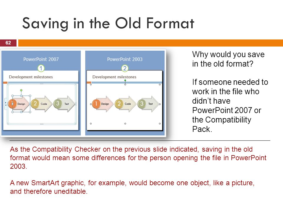 Overview a hands on introduction lesson 1 get your bearings 62 opening and saving existing presentations 61 checking for compatibility as you work powerpoint takes note of things you add to the file that may not toneelgroepblik Gallery