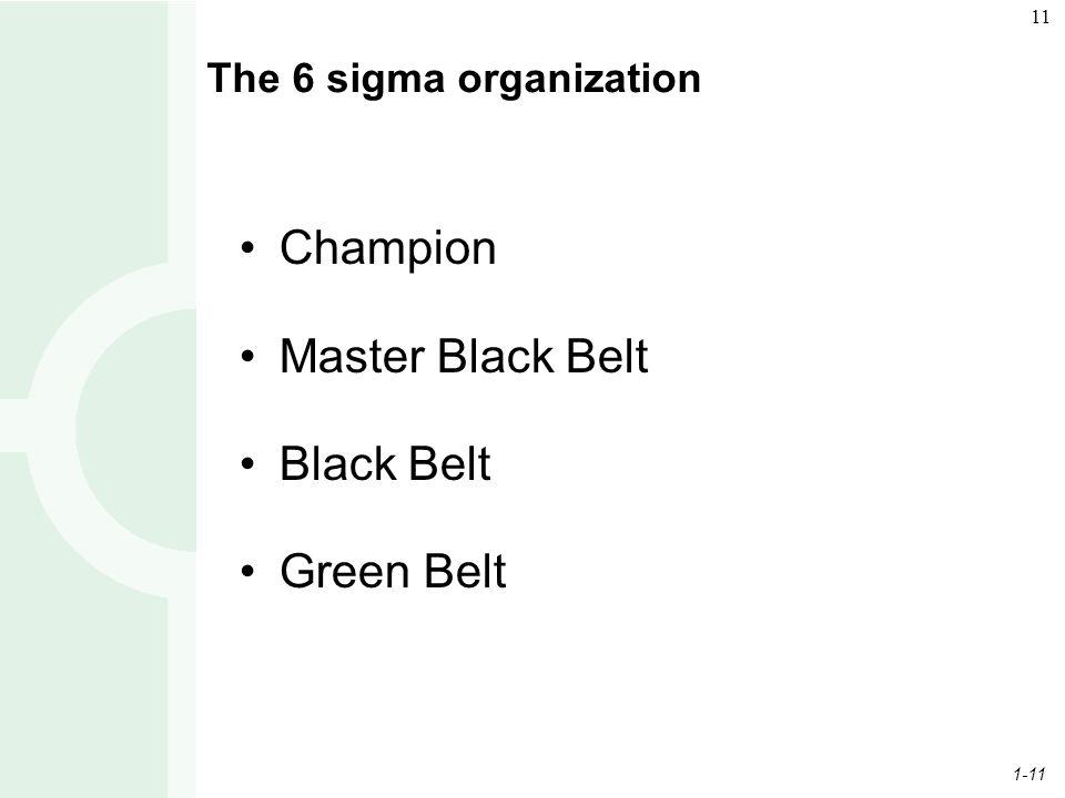 1-11 11 The 6 sigma organization Champion Master Black Belt Black Belt Green Belt