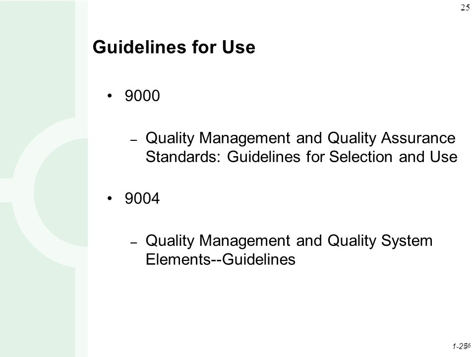 1-25 25 26 Guidelines for Use 9000 – Quality Management and Quality Assurance Standards: Guidelines for Selection and Use 9004 – Quality Management and Quality System Elements--Guidelines