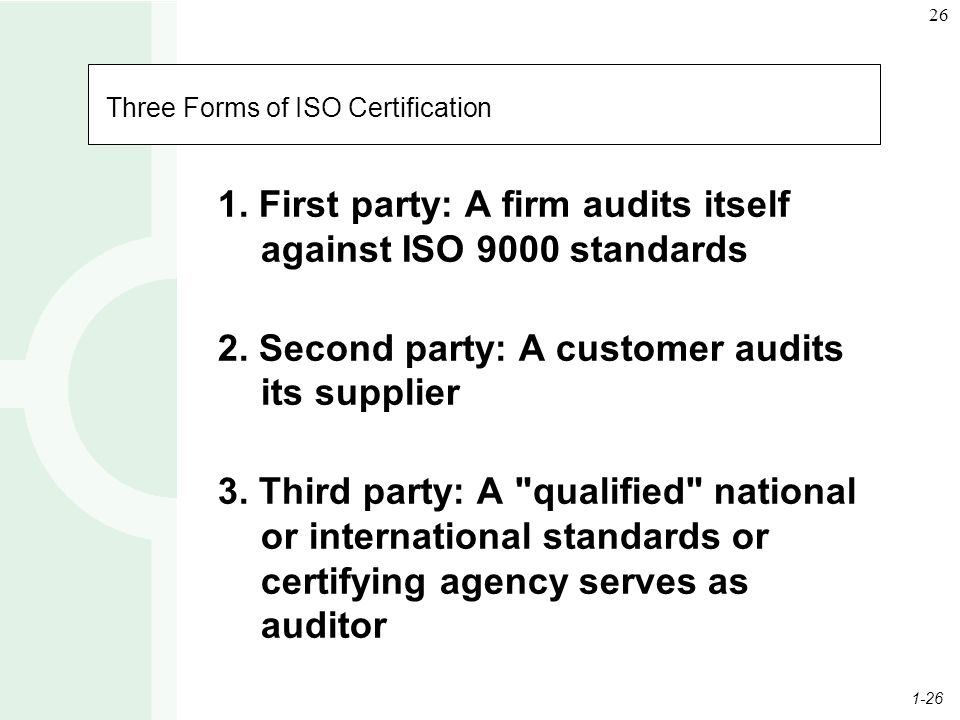 1-26 26 Three Forms of ISO Certification 1.