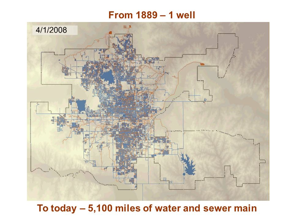 To today – 5,100 miles of water and sewer main From 1889 – 1 well
