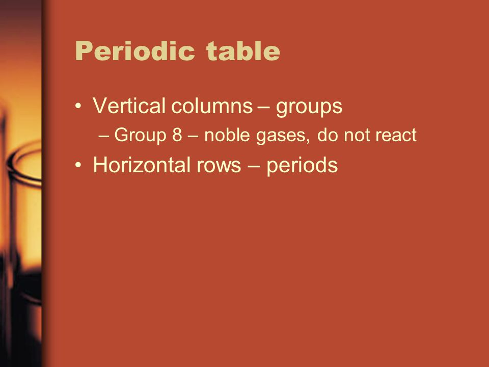 Periodic table Vertical columns – groups –Group 8 – noble gases, do not react Horizontal rows – periods