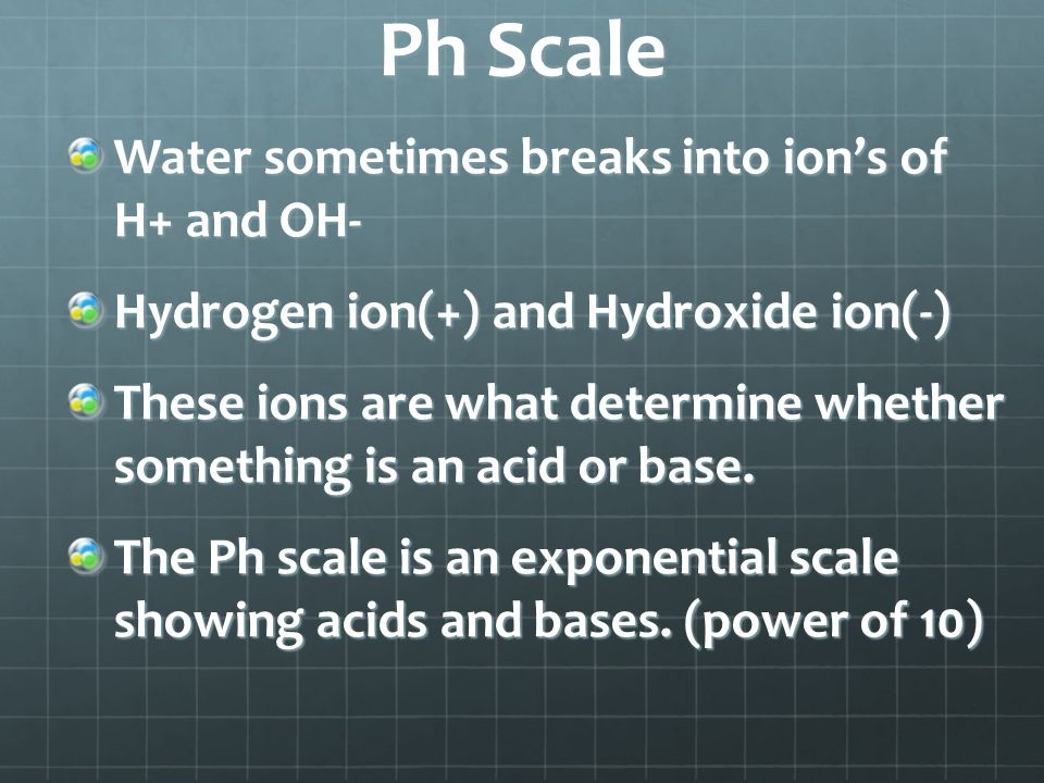 Ph Scale Water sometimes breaks into ion's of H+ and OH- Hydrogen ion(+) and Hydroxide ion(-) These ions are what determine whether something is an acid or base.