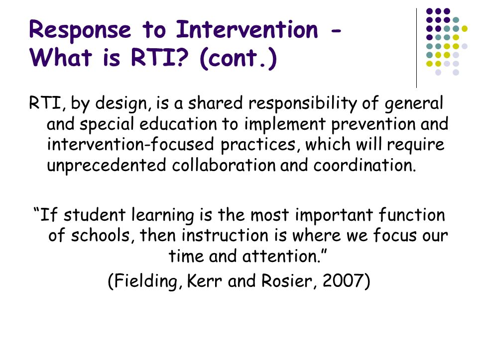 Response to Intervention - What is RTI.