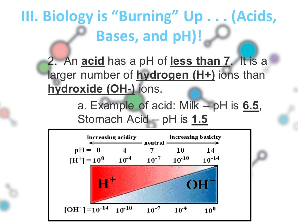 III. Biology is Burning Up... (Acids, Bases, and pH).
