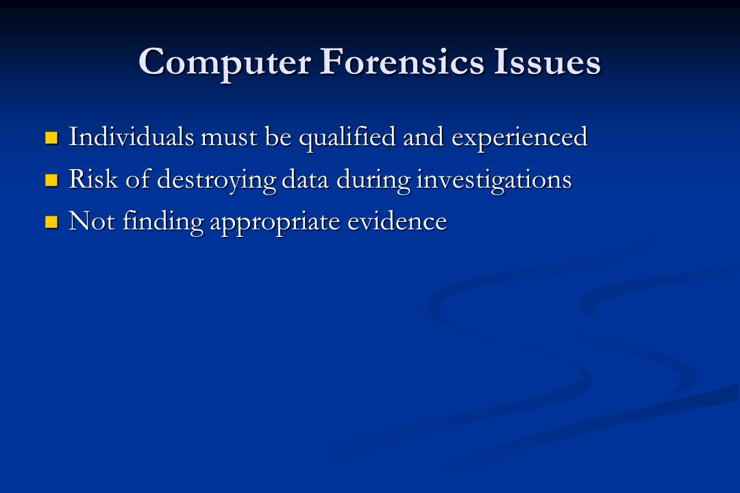 Recording Computer Crime and Computer Forensics Rise in use of computers and subsequent increase in computer misuse has led to need for methods of detecting the where, when, and who Rise in use of computers and subsequent increase in computer misuse has led to need for methods of detecting the where, when, and who Detecting misuse has to be accurate and based on defined set of principles for the collection and evaluation of evidence Detecting misuse has to be accurate and based on defined set of principles for the collection and evaluation of evidence