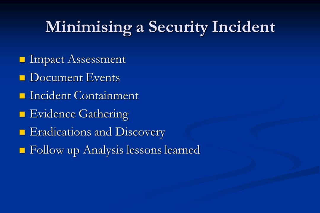 Incident Handling Policy Steps Incident Handling Policy Steps