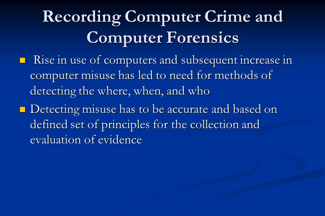 Computer Forensics - Phases Four phases in criminal proceedings Four phases in criminal proceedings Identification of relevant evidence Identification of relevant evidence Collection and preservation Collection and preservation Analysis of digital evidence Analysis of digital evidence Presentation in court Presentation in court