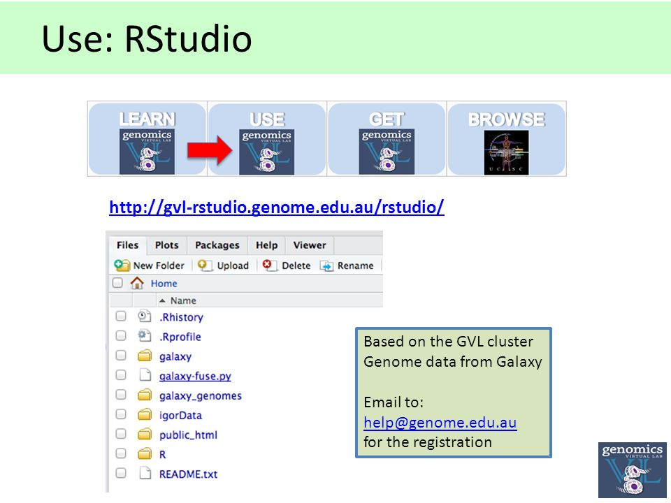 Use: RStudio   Based on the GVL cluster Genome data from Galaxy  to: for the registration