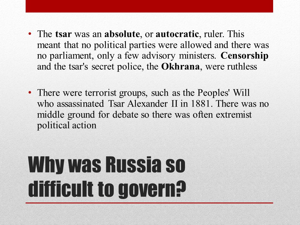 assess the difficulties facing russias rulers