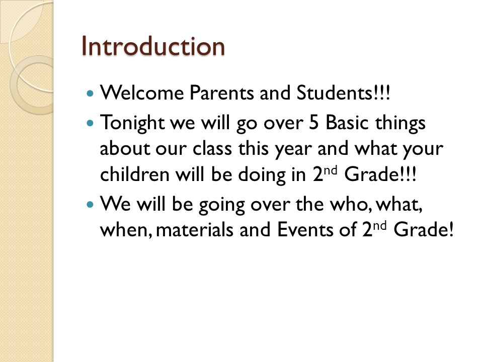 Welcome to 2nd Grade Parents Night