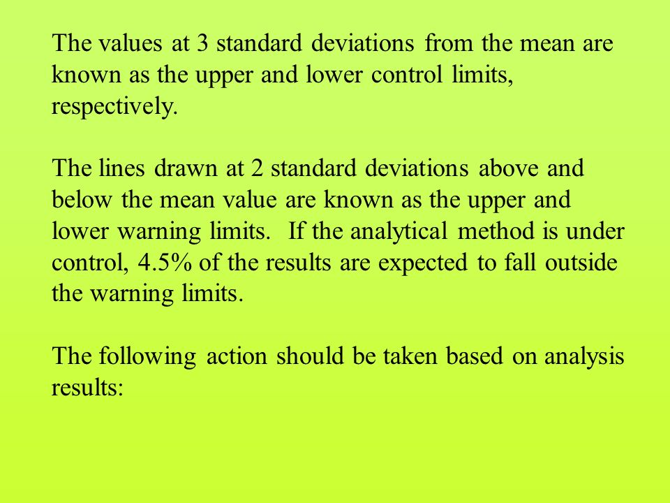 The values at 3 standard deviations from the mean are known as the upper and lower control limits, respectively.
