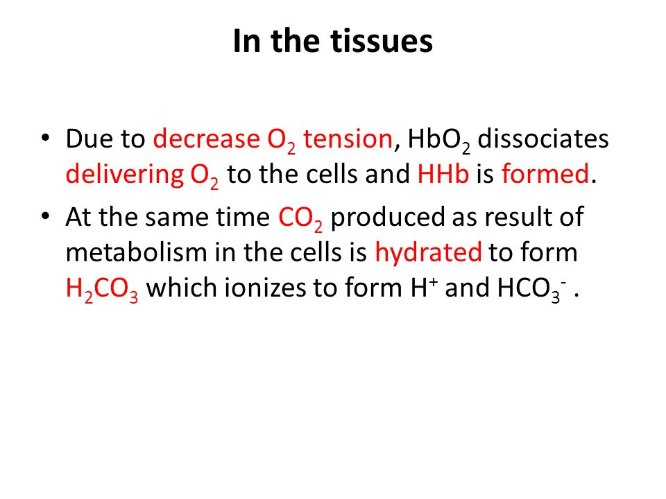 In the tissues Due to decrease O 2 tension, HbO 2 dissociates delivering O 2 to the cells and HHb is formed.