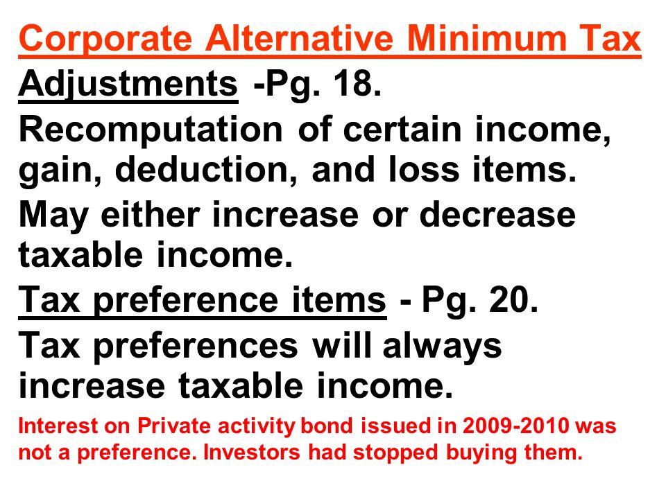 Corporate Alternative Minimum Tax Adjustments -Pg.