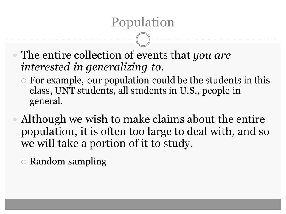 Initial Data Analysis DISTINCTIONS. Some Distinctions Population ...