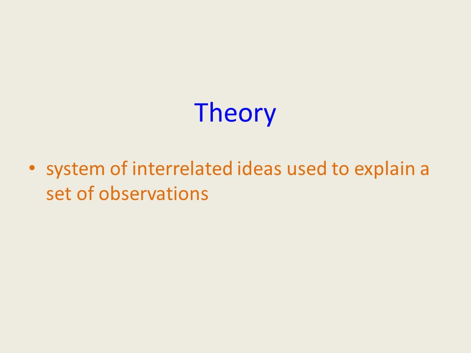 Theory system of interrelated ideas used to explain a set of observations