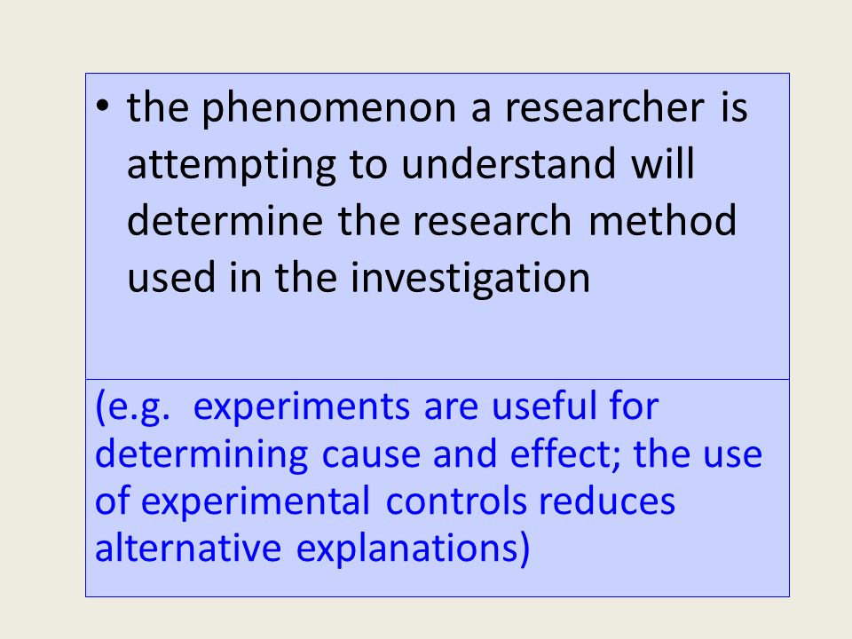 the phenomenon a researcher is attempting to understand will determine the research method used in the investigation (e.g.