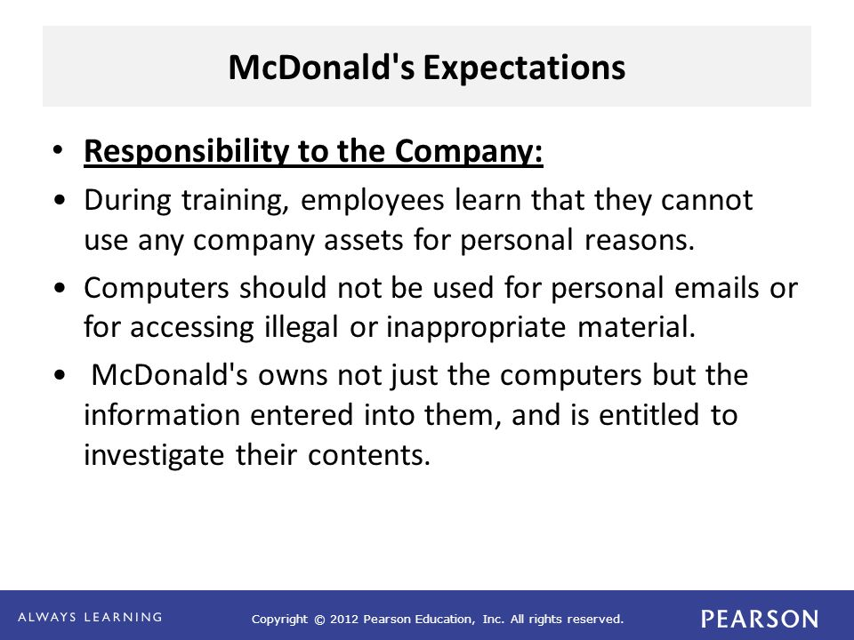 Copyright © 2012 Pearson Education, Inc. All rights reserved. McDonald's Expectations Responsibility to the Company: During training, employees learn