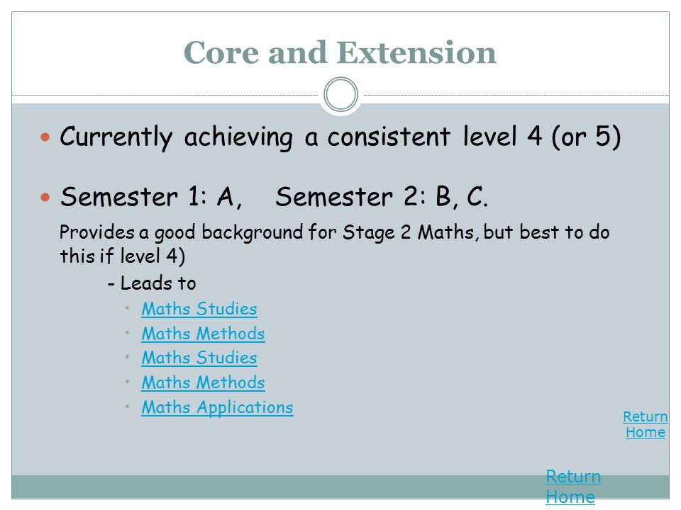 Return Home Return Home Core and Extension Currently achieving a consistent level 4 (or 5) Semester 1: A, Semester 2: B, C.