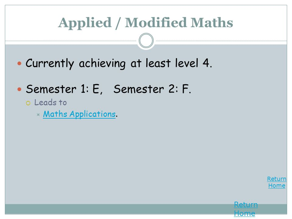 Return Home Return Home Applied / Modified Maths Currently achieving at least level 4.