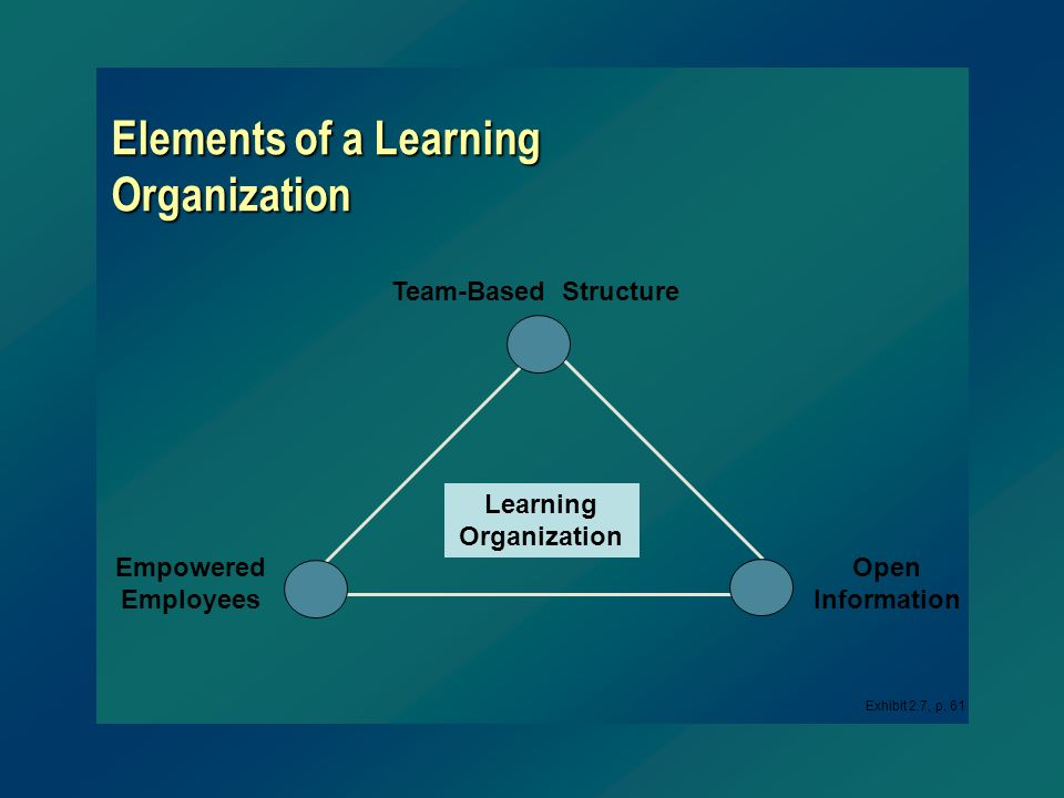 Elements of a Learning Organization Learning Organization Open Information Empowered Employees Team-Based Structure Exhibit 2.7, p. 61