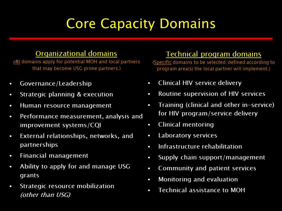 Organizational domains (All domains apply for potential MOH and local partners that may become USG prime partners.) Technical program domains (Specific domains to be selected/defined according to program area(s) the local partner will implement.)  Governance/Leadership  Strategic planning & execution  Human resource management  Performance measurement, analysis and improvement systems/CQI  External relationships, networks, and partnerships  Financial management  Ability to apply for and manage USG grants  Strategic resource mobilization (other than USG)  Clinical HIV service delivery  Routine supervision of HIV services  Training (clinical and other in-service) for HIV program/service delivery  Clinical mentoring  Laboratory services  Infrastructure rehabilitation  Supply chain support/management  Community and patient services  Monitoring and evaluation  Technical assistance to MOH Core Capacity Domains