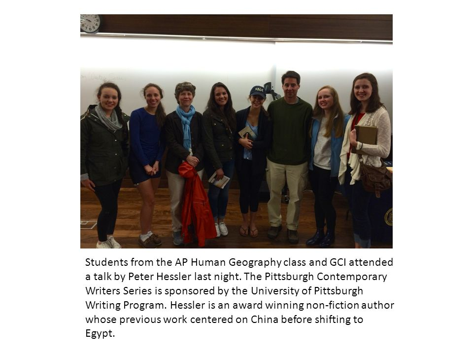 Students from the AP Human Geography class and GCI attended a talk by Peter Hessler last night.
