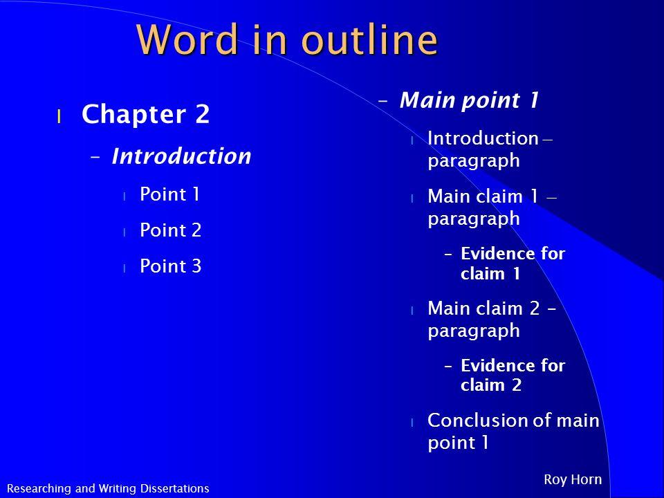 Chemistry Dissertation Outline
