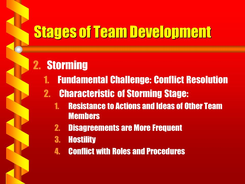Stages of Team Development 2.Storming 1.Fundamental Challenge: Conflict Resolution 2. Characteristic of Storming Stage: 1.Resistance to Actions and Id