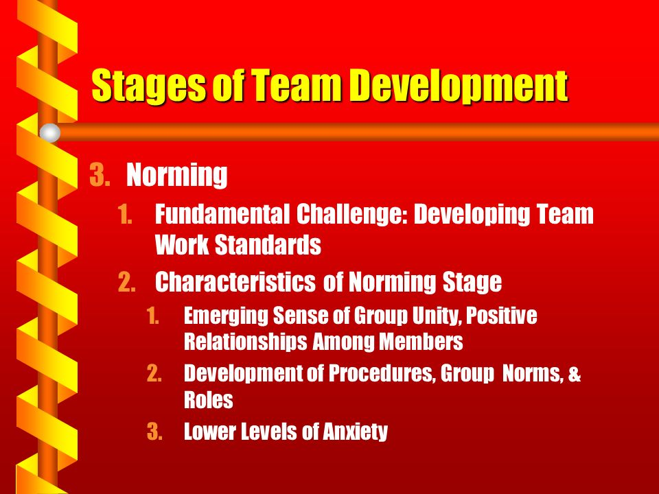 Stages of Team Development 3.Norming 1.Fundamental Challenge: Developing Team Work Standards 2.Characteristics of Norming Stage 1.Emerging Sense of Gr
