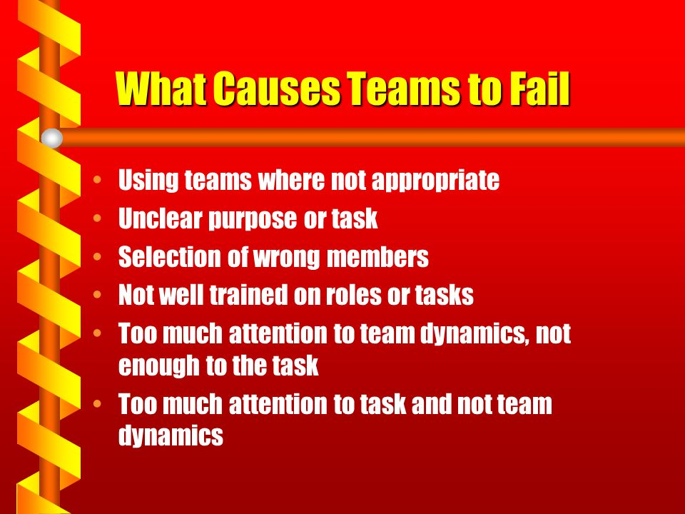 What Causes Teams to Fail Using teams where not appropriate Unclear purpose or task Selection of wrong members Not well trained on roles or tasks Too