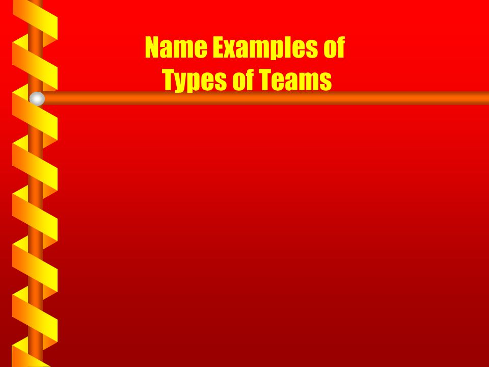 Name Examples of Types of Teams