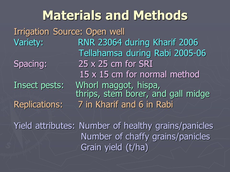 Materials and Methods Irrigation Source: Open well Variety: RNR during Kharif 2006 Tellahamsa during Rabi Tellahamsa during Rabi Spacing: 25 x 25 cm for SRI 15 x 15 cm for normal method 15 x 15 cm for normal method Insect pests: Whorl maggot, hispa, thrips, stem borer, and gall midge Replications: 7 in Kharif and 6 in Rabi Yield attributes: Number of healthy grains/panicles Number of chaffy grains/panicles Number of chaffy grains/panicles Grain yield (t/ha) Grain yield (t/ha)