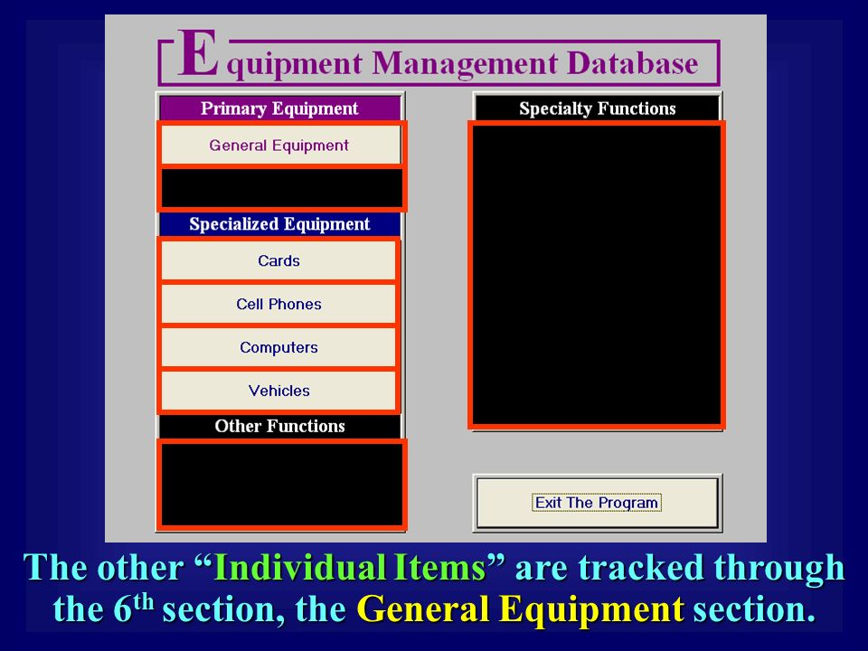 The other Individual Items are tracked through the 6 th section, the General Equipment section.