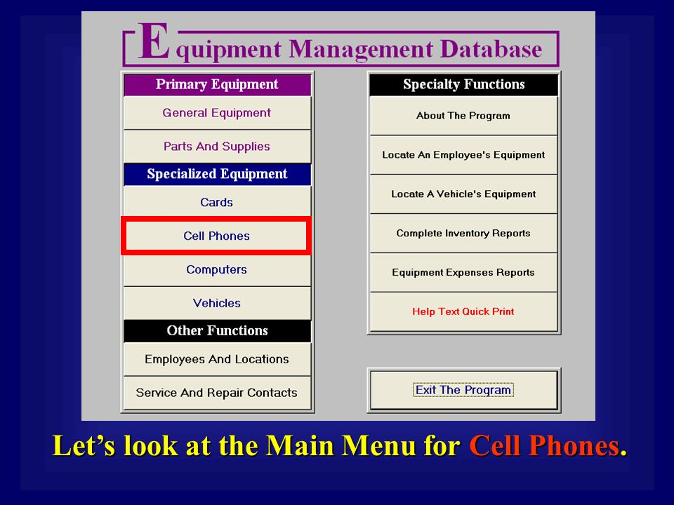 Let's look at the Main Menu for Cell Phones.