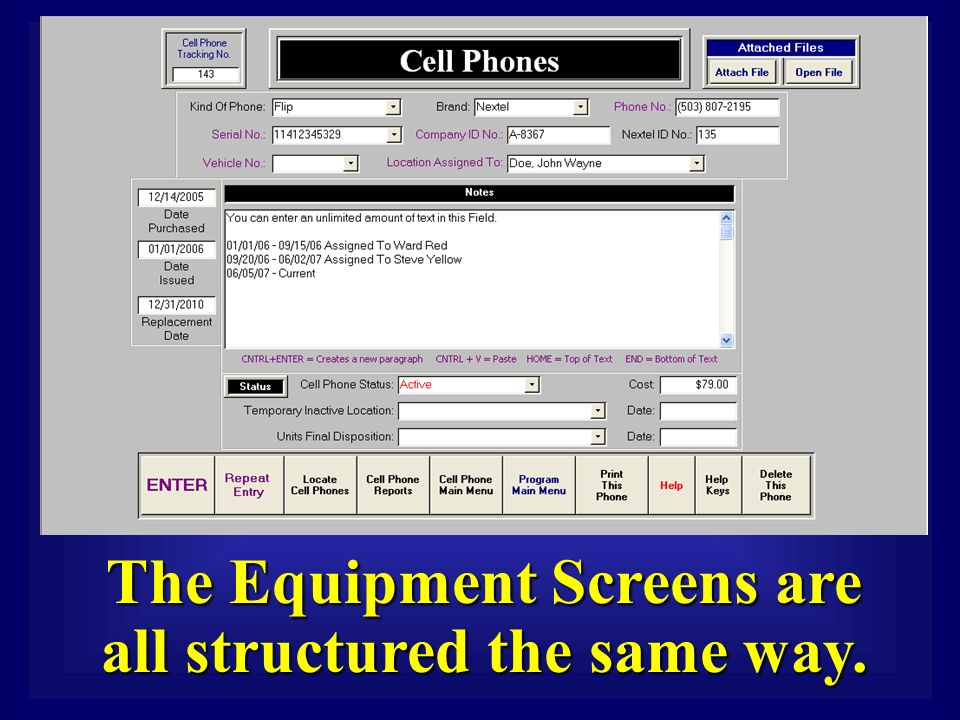 The Equipment Screens are all structured the same way.