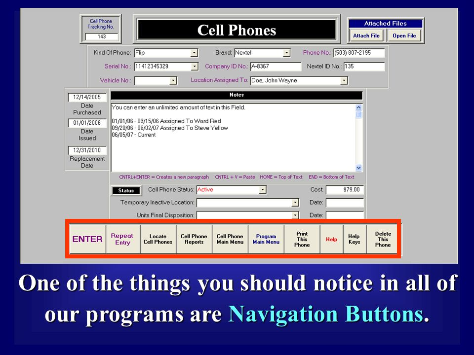 One of the things you should notice in all of our programs are Navigation Buttons.