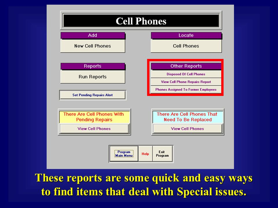 These reports are some quick and easy ways to find items that deal with Special issues.