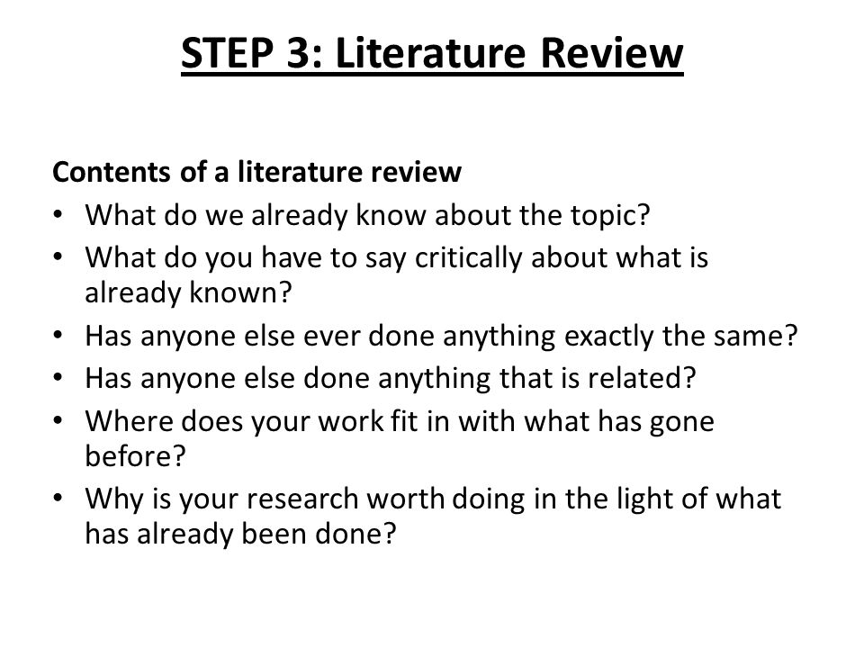 Contents of literature review