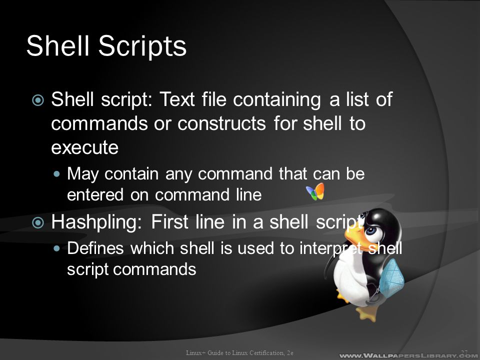 Shell Scripts  Shell script: Text file containing a list of commands or constructs for shell to execute May contain any command that can be entered on command line  Hashpling: First line in a shell script Defines which shell is used to interpret shell script commands Linux+ Guide to Linux Certification, 2e27