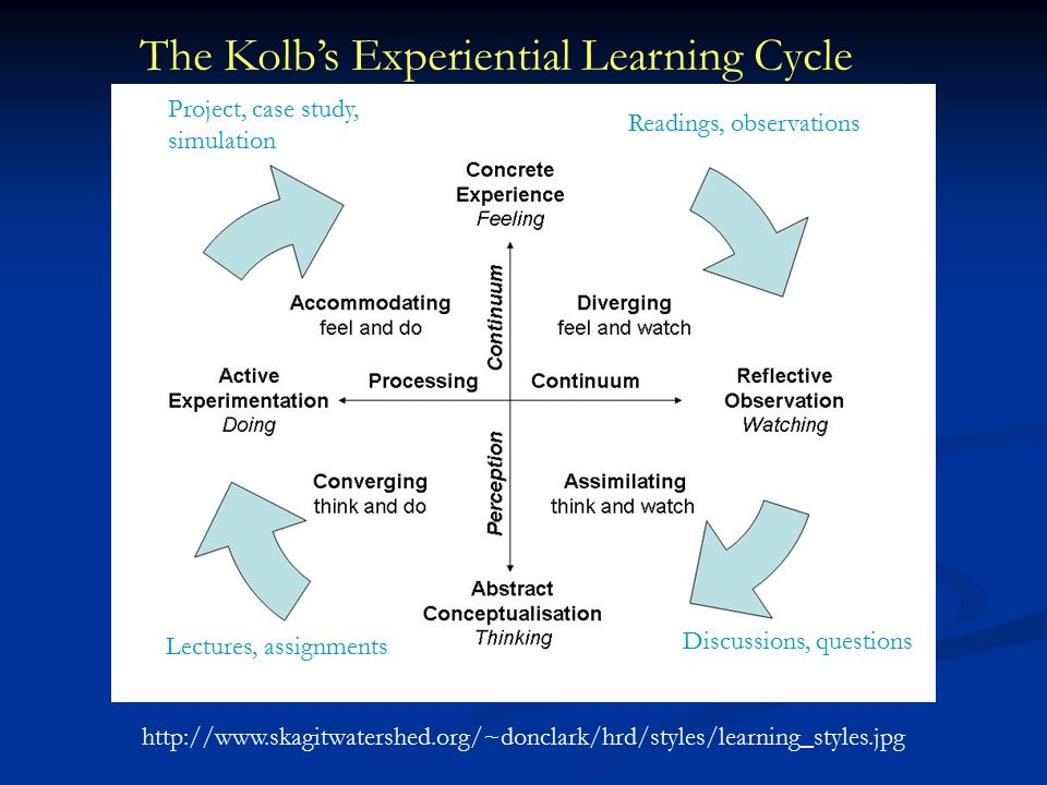 The Kolb's Experiential Learning Cycle Lectures, assignments Project, case study, simulation Readings, observations Discussions, questions