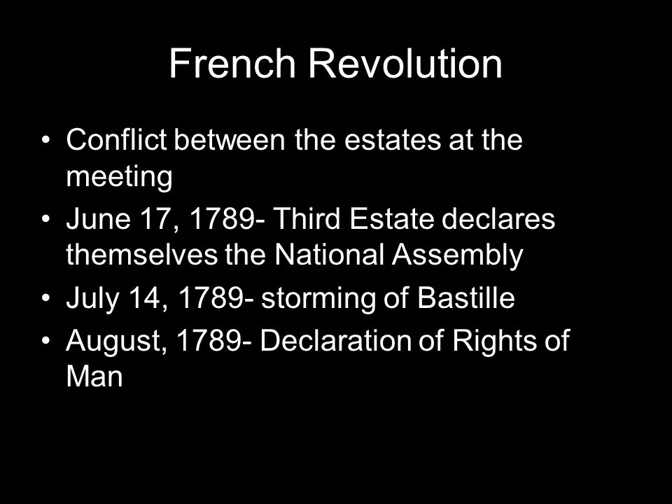 French Revolution Conflict between the estates at the meeting June 17, Third Estate declares themselves the National Assembly July 14, storming of Bastille August, Declaration of Rights of Man